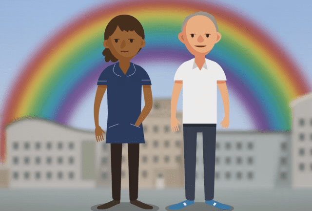 Two cartoon healthworkers with a rainbow